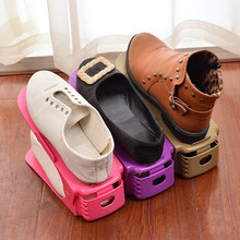 Creative Colorful Plastic Shoes Rack Organizer Space-Saving Storage Adjustable Durable L0813