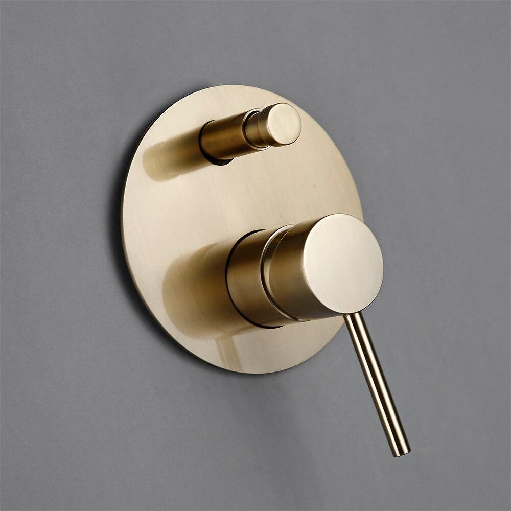 "Bathroom Bath Faucet Brass Diverter Mixer Tap Set Brushed Gold Rain Fall Valve System Kit Hand Bathroom Bath Faucet Brass Diverter Mixer Tap Set Brushed Gold Rain Fall Valve System Kit Hand held 8-12""Shower Head Wall Arm"