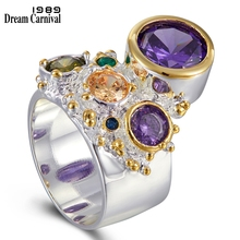 DreamCarnival 1989 New Arrive Colorful Feminine Zircon Ring for Women Big Purple Stone Gothic Wedding Engagement Jewelry WA11704