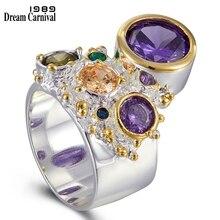 Dreamcarnival 1989 novos chegam colorido feminino zircão anel para as mulheres grande pedra roxa gótico casamento noivado jóias wa11704