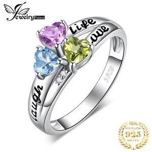 Image 1 - JewelryPalace hayat aşk gülmek kalp hakiki Peridot ametist Topaz yüzük 925 ayar gümüş yüzük kadınlar için söz yüzüğü takı
