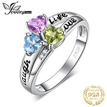 JewelryPalace vida corazón de la risa del amor genuino corte Peridot amatista Topacio azul cielo promesa anillo 925 plata esterlina