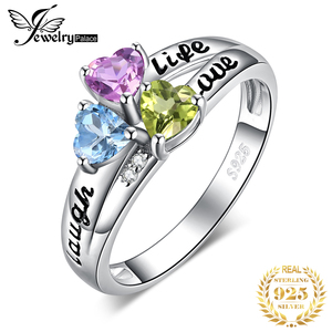 Image 1 - JewelryPalace życie miłość śmiech serce oryginalna Peridot ametyst pierścień Topaz 925 srebro pierścionki dla kobiet pierścień przyrzeczenia biżuteria