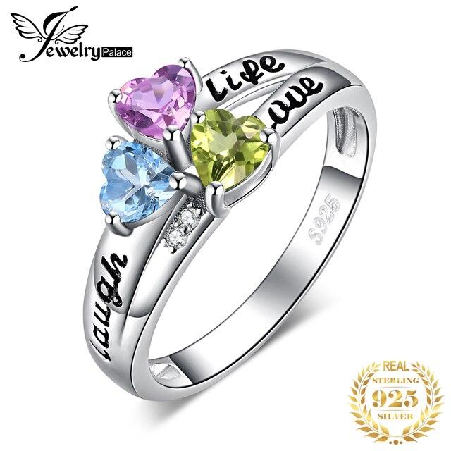 JewelryPalace życie miłość śmiech serce oryginalna Peridot ametyst pierścień Topaz 925 srebro pierścionki dla kobiet pierścień przyrzeczenia biżuteria