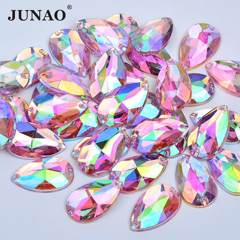 JUNAO 100pcs 17*28mm Sewing Pink AB Drop Rhinestones Applique Flatback Large Acrylic Strass Sew On Crystal Stones
