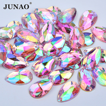 JUNAO 100pcs 17*28mm Sewing Pink AB Drop Rhinestones Applique Flatback Large Acrylic Strass Sew On Crystal Stones