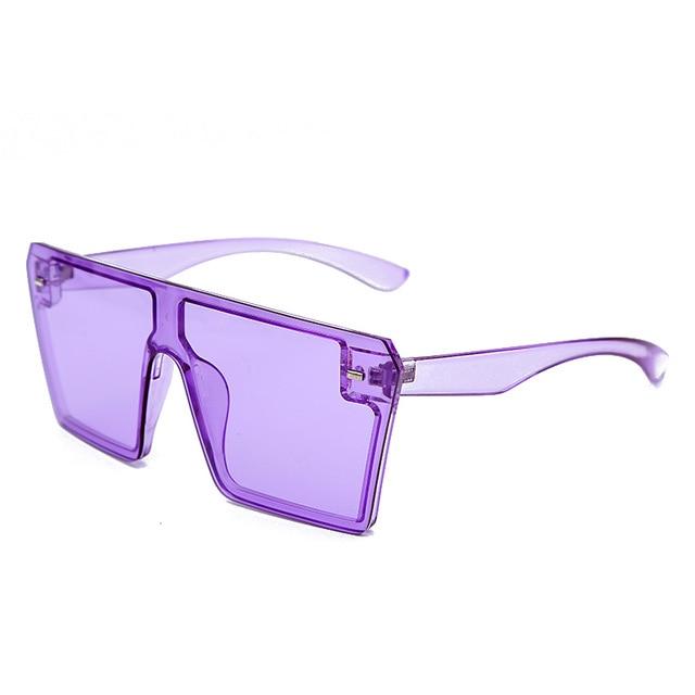 Oversized Square Sunglasses Women 2021 Luxury Brand Fashion Flat Top Red Black Clear Lens One Piece Men Gafas Shade Mirror UV400 16