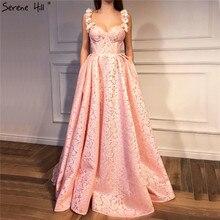 Dubai Pink Sleeveless Sexy Prom Dresses Design 2020 Flowers Crystal Lace Party Dress Serene Hill LA6522