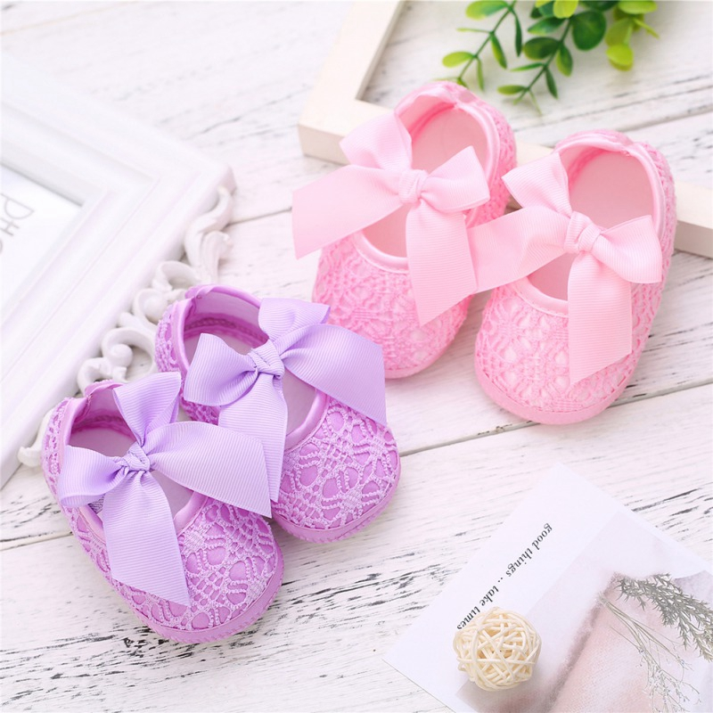 Girl Baby Shoes Anti-Slip Shoes With Bowknot Casual Sneakers Toddler Soft Soled First Walkers Fashion Lace 0-24M Newborn Gifts