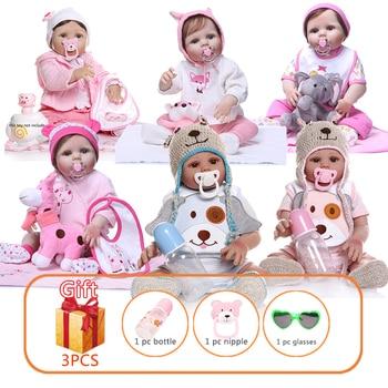NPK 48/55cm Full Body Silicone Reborn Baby Doll Lifelike Babies Dolls Handmade Simulation Toys Toddler Xmas Gifts For Kids