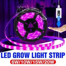 Taśma LED do wzrostu światła 5V USB pełnozakresowe LED oświetlenie do uprawy dla roślin 1M 2M 3M lampy fito dla Seedings kwiat Fitolampy rosną namiot