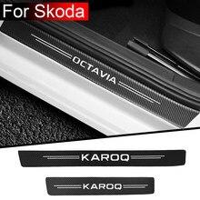 4pcs car accessories interior Threshold Car sticker For Skoda Octavia 1 2 3 a7 a5 FABIA KAMIQ KAROQ RAPID SCALA SUPERB KODIAQ