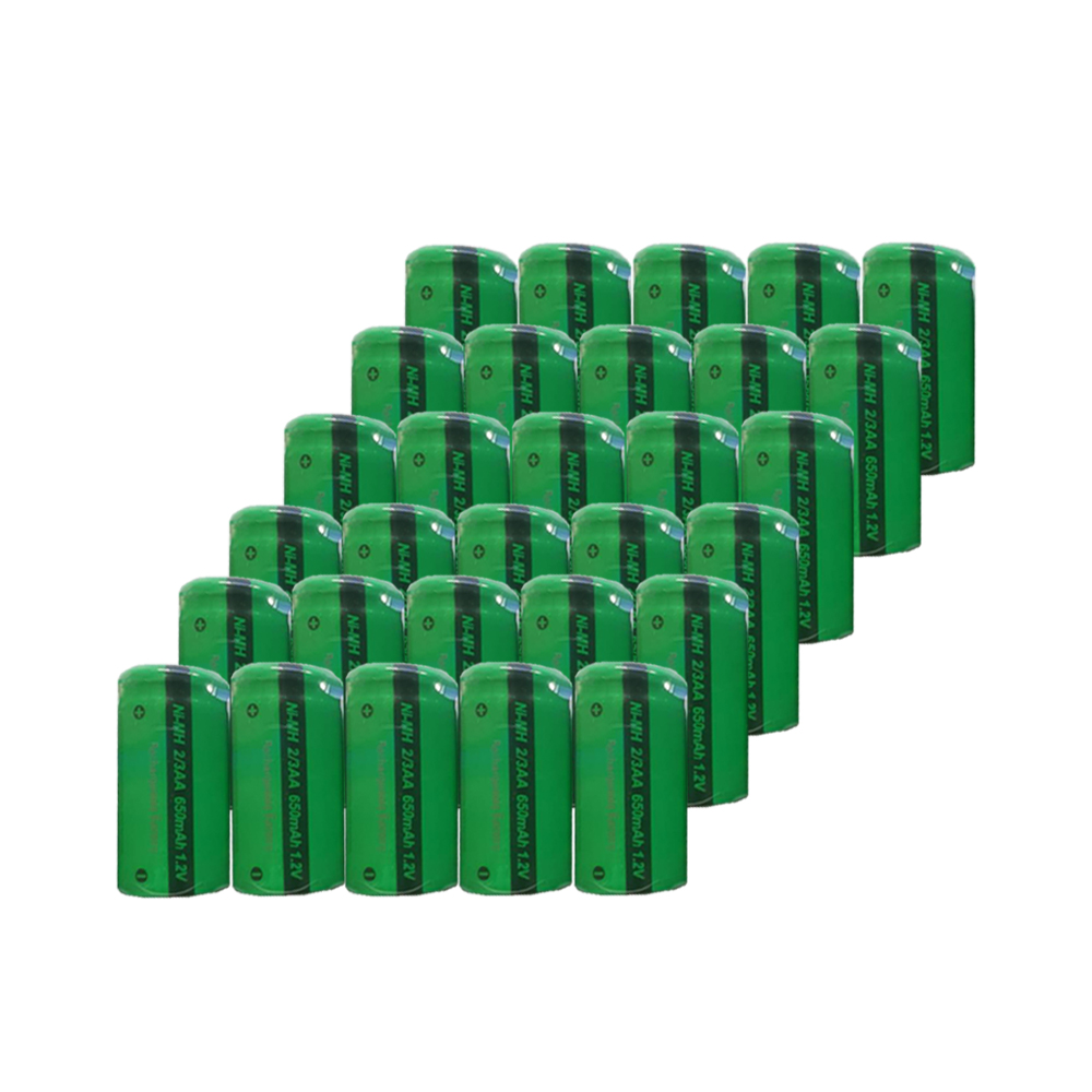 30pcs 2/3AA Size Rechargeable <font><b>Battery</b></font> 650mAh NiMH <font><b>1.2V</b></font> Flat Top PKCELL image