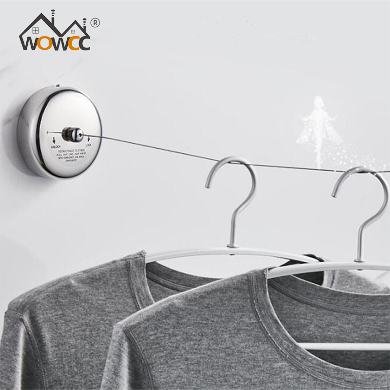 Stainless Steel Retractable Clothesline Laundry Hanger Drying Rack Rope Portable