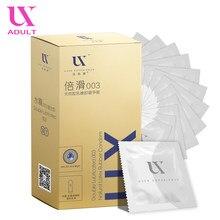 Condones de goma de látex Natural ultrafinos para hombres, productos sexuales lubricados suaves y suaves, funda para pene, 100 Uds.