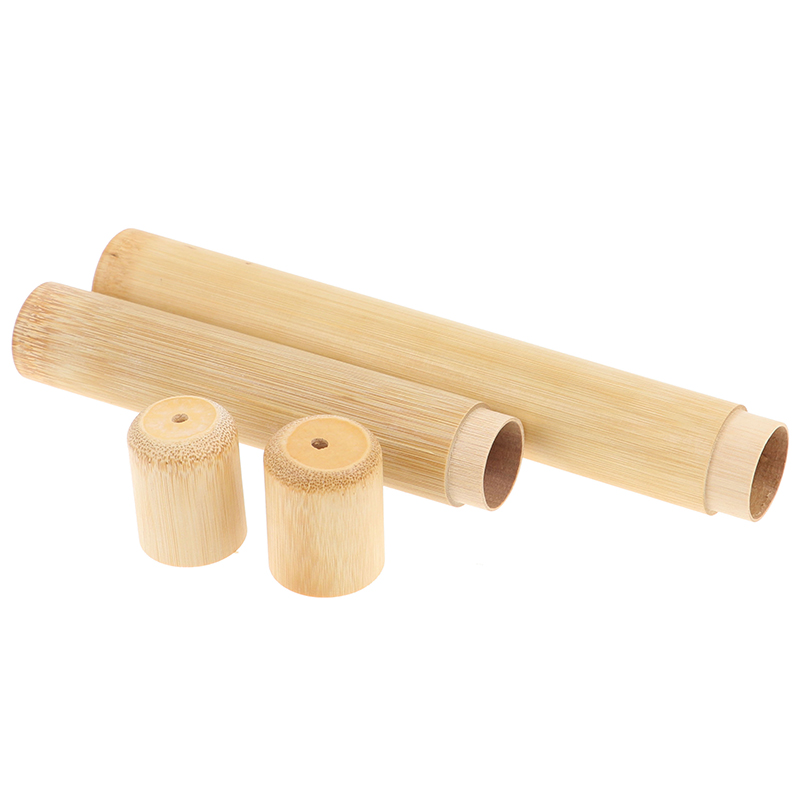 Natural <font><b>Bamboo</b></font> Tube For <font><b>Toothbrush</b></font> Eco Friendly Travel Case Handmade <font><b>Bamboo</b></font> <font><b>Toothbrush</b></font> Tube Portable Travel <font><b>Packing</b></font> 1pc 21/16cm image