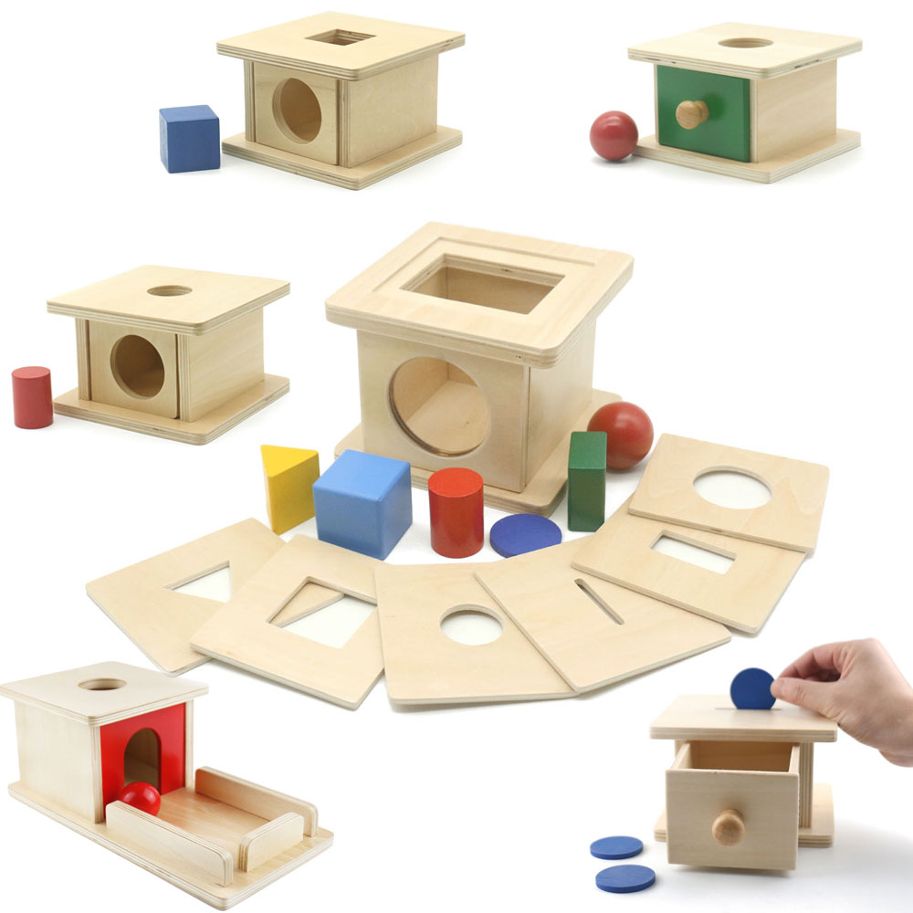 Wooden Montessori Sensory Toys Coin Imbucare Box With 6 In 1 Box Montessori Educational Preschool Training Toys For Childre A346