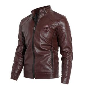 Image 2 - 新2019秋と冬モデルプラスベルベット男性の襟襟puオートバイの革のジャケットジャケット