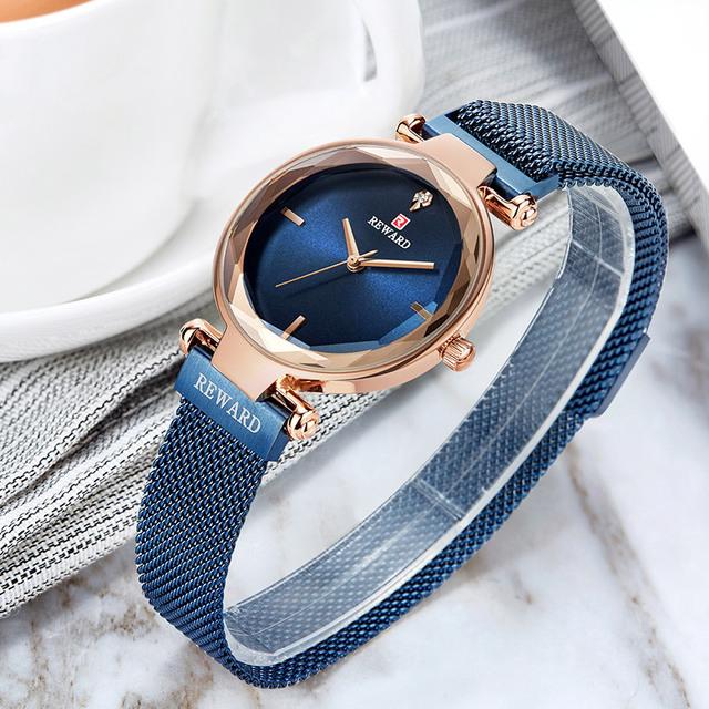 2019REWARD New Luxury Crystal Watch Women Quartz Watches Ladies Top Brand Female Wrist Watch Girl Friend Wife Gift Clock Zegarek