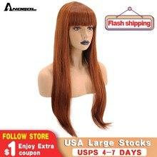 Anogol laranja auburn vermelho fibra de alta temperatura natural longa reta peruca sintética para senhoras meninas feminino com faixa plana franja