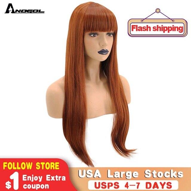 Anogol pomarańczowy kasztanowy czerwony wysoki temperatura włókna naturalne długie proste peruka syntetyczna dla pań dziewczyny kobiety z płaskim Bang Fringe