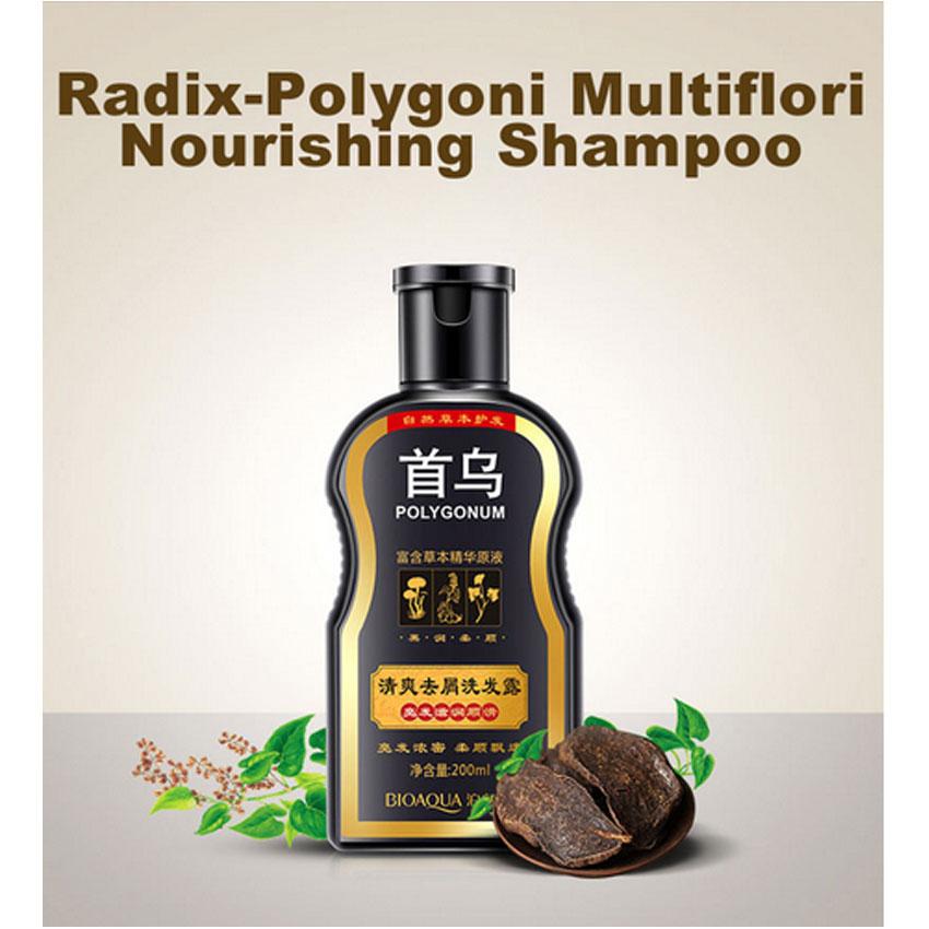 BIOAQUA Polygonum Multiflorum Anti-dandruff Shampoo Nourishing Ufa  Chinese Herbal Hair Growth Repair Damaged Rough Dry Hair 1