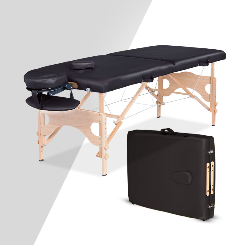 184*71cm Folding Massage Table Portable Solid Wood Spa Massage Tables PU Leather Waterproof Beauty Bed