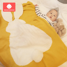 Baby Blanket Newborn Cute Rabbit Ear Nap Blanket Soft Warm Knitted Swaddle Kids Air Conditioning Blanket Toddler Bedding Blanket стоимость