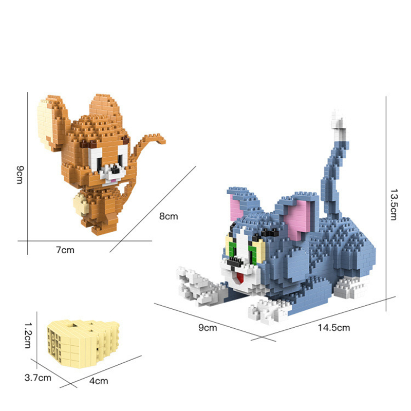 1524pcs Cat Mouse Series Cartoon Animal Tom Jerry Model Small Particles Building Blocks Mini Micro Bricks Child Toys For Gift