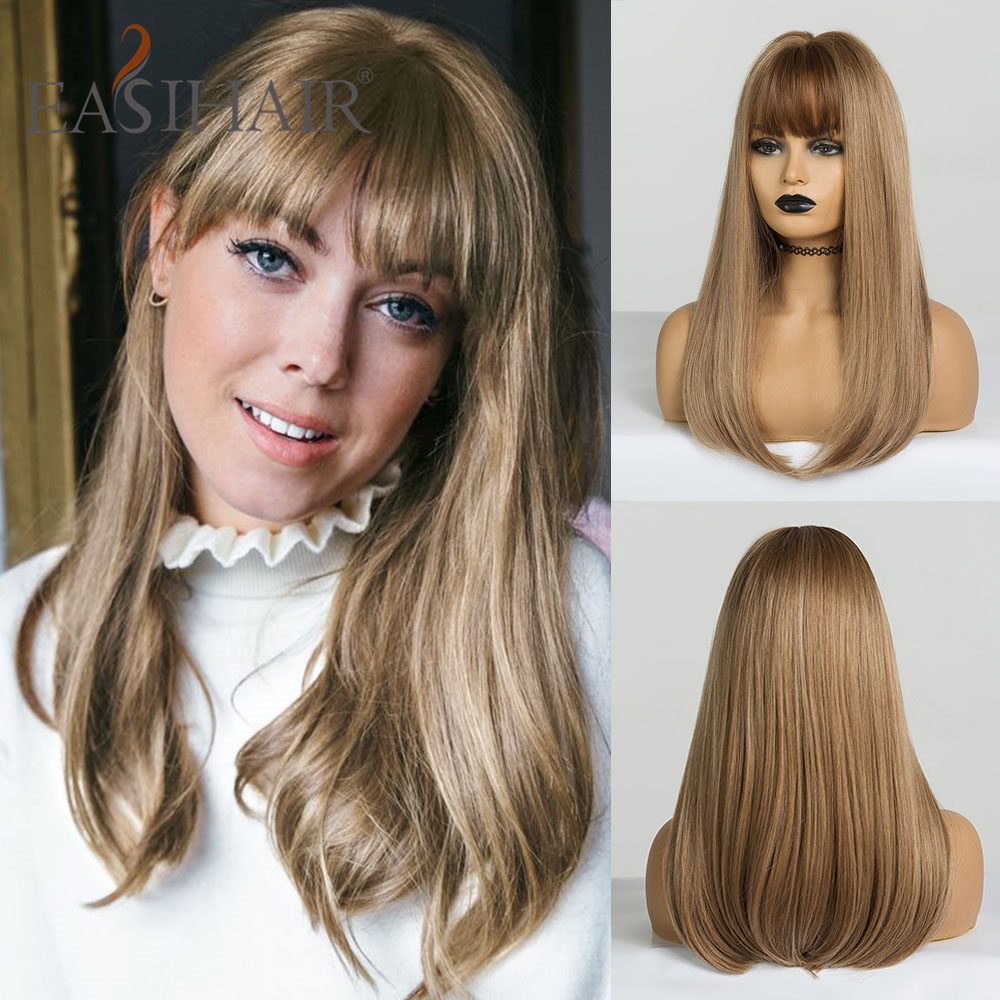 EASIHAIR Long Straight Wigs With Bangs Synthetic Wigs For Black Woman High Density Natural Hair Heat Resistant Cosplay Wigs