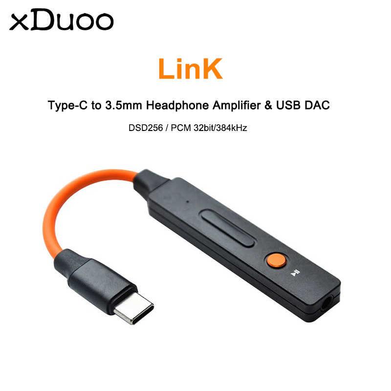 Xduoo Link Audio Resolusi Tinggi ESS9118EC Tipe-C Kepada 3.5 Mm Headphone Amplifier Amp USB DAC Dukungan DSD256 PCM 32bit/384 KHz untuk Android/PC