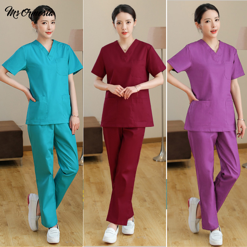 Medical Surgery Uniform High Quality Beauty Salon Workwear Breathable Doctor Work Clothes Dentist Pharmacist Nursing Scrubs Tops