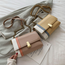 Contrast Color Pu Leather Crossbody Bags for Women 2020 Messenger Shoulder Bag Handle Lady Tote Handbags Chain Summer Female Bag fashionable women s pu cover opening messenger bag tote bag w chain silver