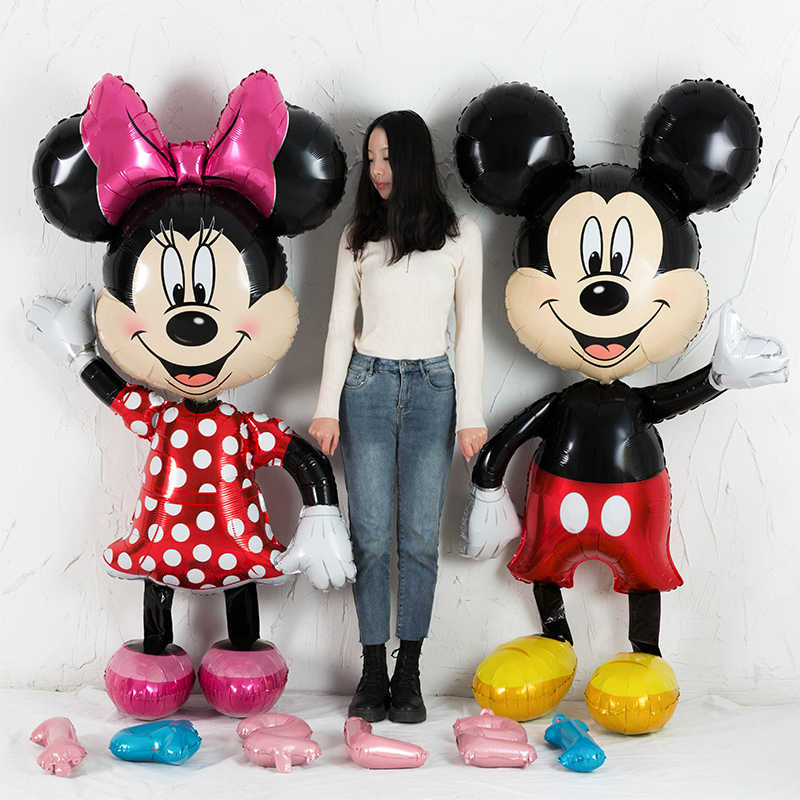 112 centimetri Giant Mickey Minnie Del Mouse Palloncino Stagnola Del Fumetto Festa di Compleanno Palloncino per bambini Decorazioni della Festa di Compleanno per bambini Regalo