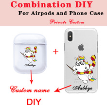 Cute Cartoon Unicorn Soft Earphone Case For Apple Clear Airpods Cases DIY Name Customized Combination of and  Phone