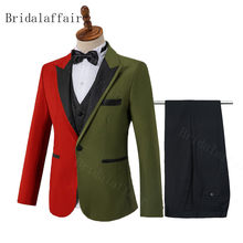 Bridalaffair Mix color 3 Pieces Men Dress Suits 2020 Casual business Prom suits For Wedding Red and Army green(Blazer+Vest+Pant)(China)