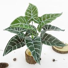 1Pc Rural Style Artificial Alocasia Leaves Fake Plant Home Office Party Photography Decor Simulation Leaf Beautiful