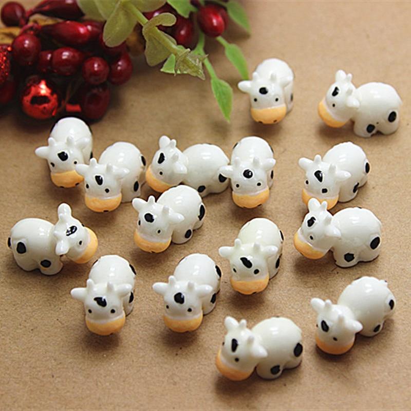 Mini animais de vaca kawaii, miniaturas de jardim de fadas para casa, decoração de jardim, acessórios diy, 10 peças 12*13*18mm