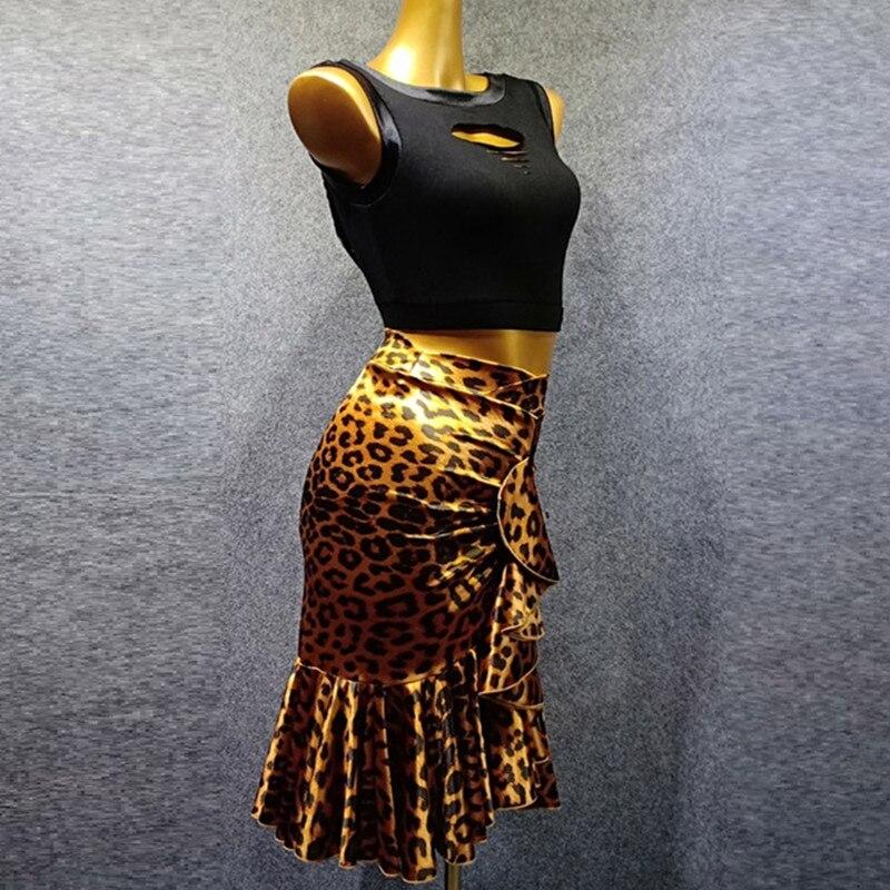 Latin Dance Top Latin Skirt Dance Clothes For Dancing Modern Dance Costumes Salsa Dress Leopard Sleeveless Dance Wear Women