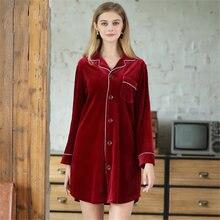 Женская Вельветовая ночная рубашка с длинным рукавом на осень