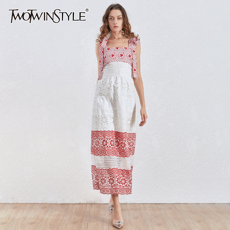 TWOTWINSTYLE Embroidery Party Dress Women Square Collar Spaghetti Strap High Waist Hollow Out Lace Up Dresses Female Fashion New