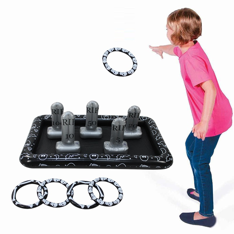 Halloween Tombstone INFLATABLE RING Toss Game Fun Toys Throwing Ring Adult Kids Party Props