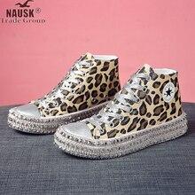Size 35~43 Women Sneakers Sexy Leopard Print Fashion Rivets Women Canvas