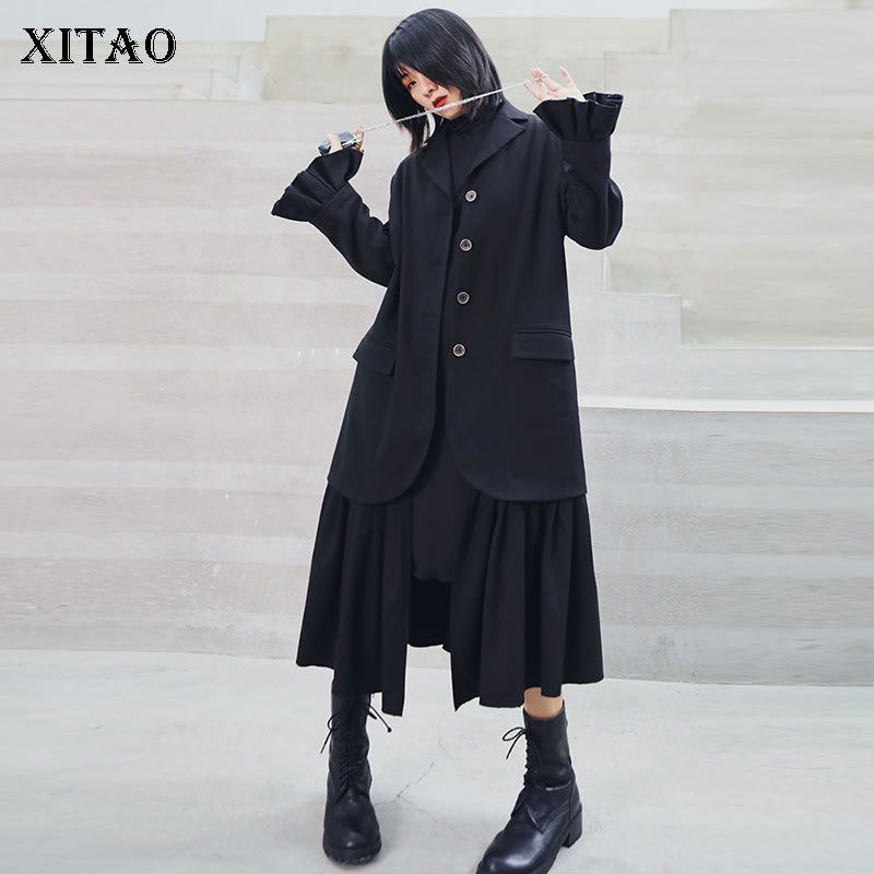 XITAO Vintage Patchwork Pleated Black   Trench   Women Clothes 2019 Hem Plus Size Turn Down Collar Full Sleeve Elegant Coat XJ2305