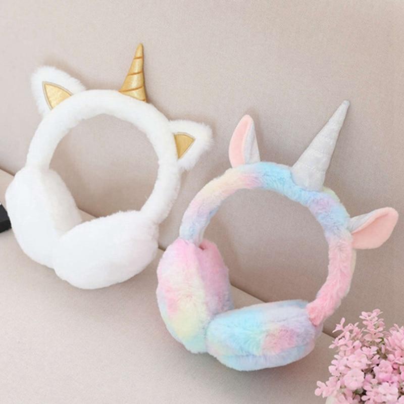Winter Plush Unicorn Earmuff Ear Muffs Kids Lovely Winter Warmer Ear Muffs Rabbit Fur Thicken Plush Unicorn Ear Cover