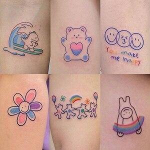 37pcs Waterproof Tattoo Stickers Become Cute Little Fresh Cartoon Girl Lasting Simulation Japanese Style Korean Dark Style