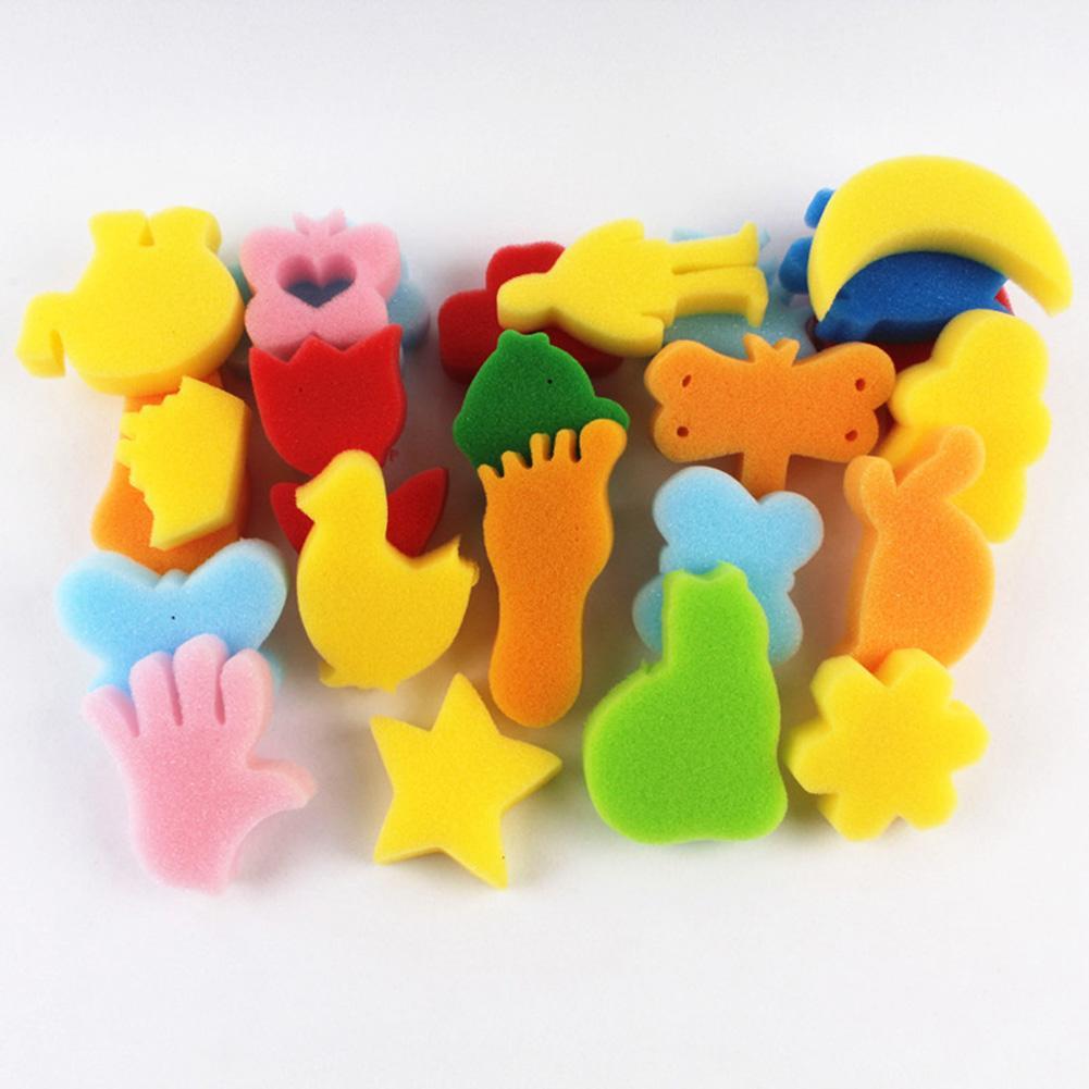 24 шт., детская губка для рисования, DIY инструмент для рисования, цветная губка-ассорти, Детская обучающая игрушка для творчества