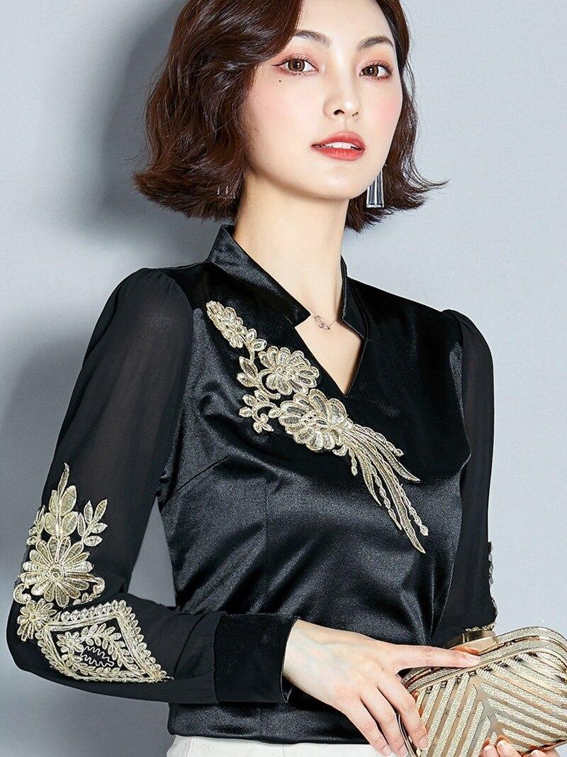 Woman Long Sleeve Embroidery Shirt Satin Black Saree Sarees Kurta Women Clothing India Pakistani Dress Eid Mubarak