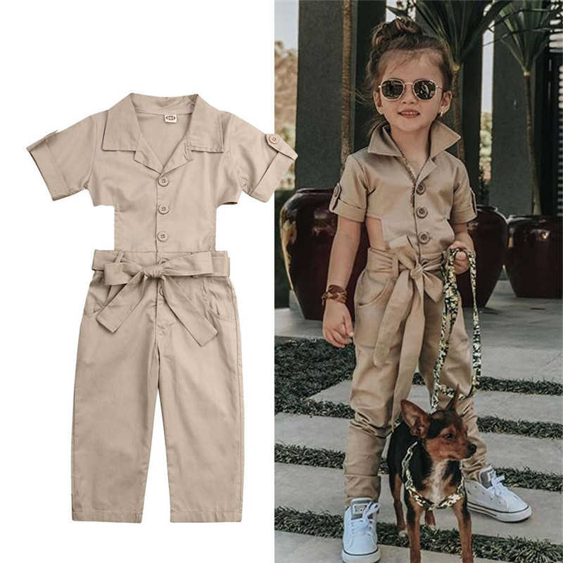 Spring Autumn Toddler Kids Baby Girls Jumpsuit Short Sleeve Show Waist Camo Bib Overalls Pants Casual Loose Jumpsuits