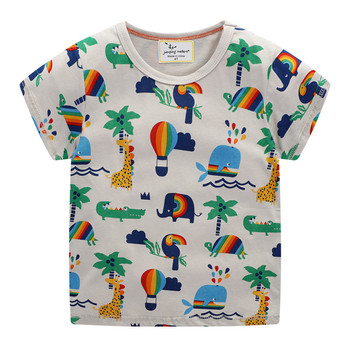Jumping meters Children Cotton T shirts Summer Cartoon Boys Girls Tees New Arrival 2020 Kids Tops Animals Printed